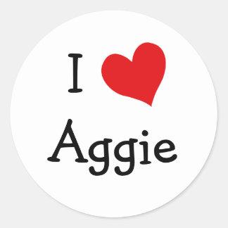 I Love Aggie Classic Round Sticker