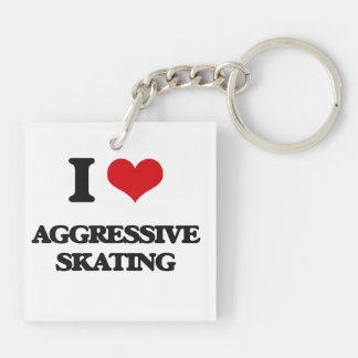 I Love Aggressive Skating Square Acrylic Key Chain