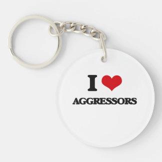 I Love Aggressors Single-Sided Round Acrylic Keychain