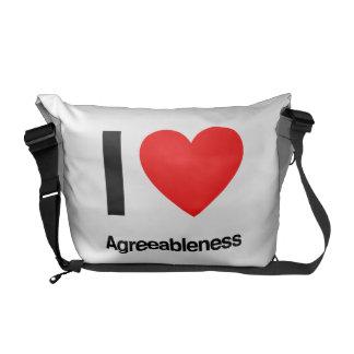 i love agreeableness messenger bag