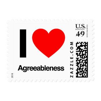 i love agreeableness postage stamps