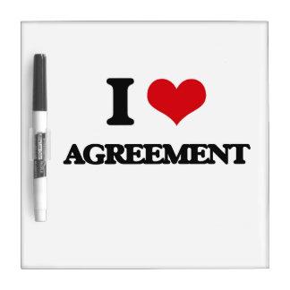I Love Agreement Dry Erase White Board