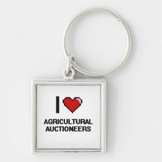 I love Agricultural Auctioneers Silver-Colored Square Keychain