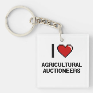 I love Agricultural Auctioneers Single-Sided Square Acrylic Keychain