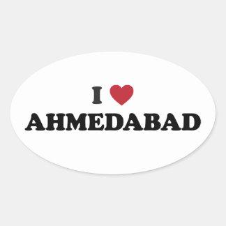 I love Ahmedabad India Oval Sticker
