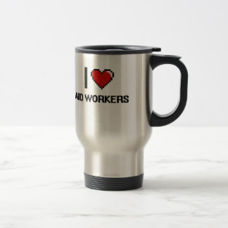 I love Aid Workers 15 Oz Stainless Steel Travel Mug