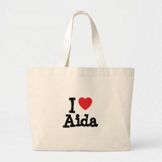 I love Aida heart T-Shirt Large Tote Bag