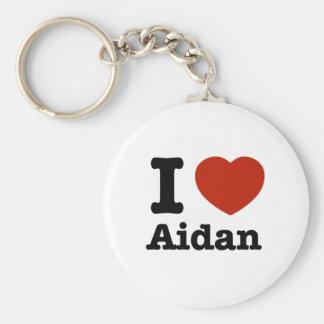 I love Aidan Basic Round Button Keychain