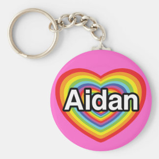 I love Aidan, rainbow heart Basic Round Button Keychain