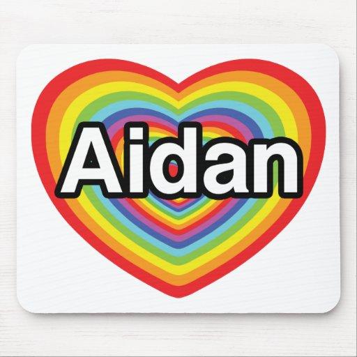 I love Aidan, rainbow heart Mouse Pad