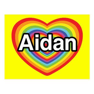 I love Aidan, rainbow heart Postcard