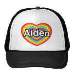 I love Aiden, rainbow heart Trucker Hat