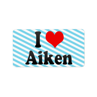I Love Aiken, United States Personalized Address Labels