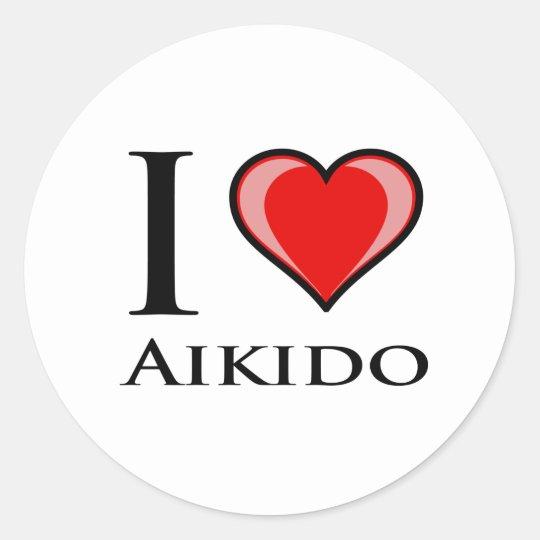 I Love Aikido Classic Round Sticker