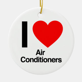 i love air conditioners Double-Sided ceramic round christmas ornament
