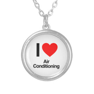 i love air conditioning silver plated necklace