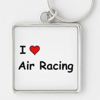 I Love Air Racing Silver-Colored Square Keychain