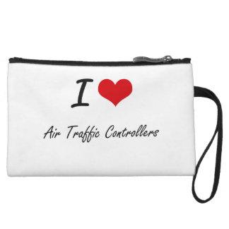 I Love Air Traffic Controllers Artistic Design Wristlet Clutch