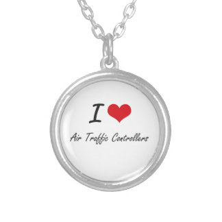 I love Air Traffic Controllers Round Pendant Necklace
