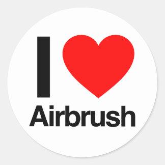 i love airbrush round stickers