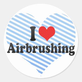 I Love Airbrushing Round Stickers