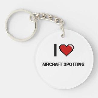 I Love Aircraft Spotting Digital Retro Design Single-Sided Round Acrylic Keychain