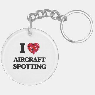 I Love Aircraft Spotting Double-Sided Round Acrylic Keychain