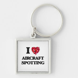 I Love Aircraft Spotting Silver-Colored Square Keychain
