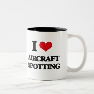 I Love Aircraft Spotting Two-Tone Coffee Mug