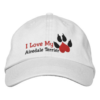 I Love Airedale Terrier Dog Paw Print Embroidered Baseball Cap