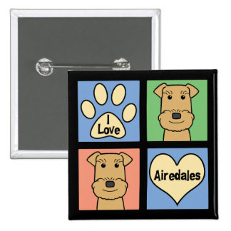 I Love Airedales Pinback Buttons