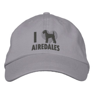 I Love Airedales Gray Embroidered Baseball Hat
