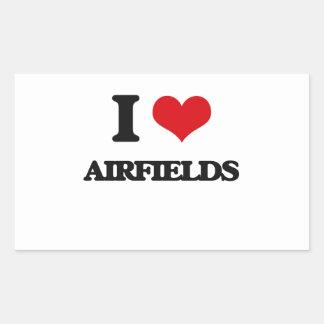 I Love Airfields Rectangular Sticker