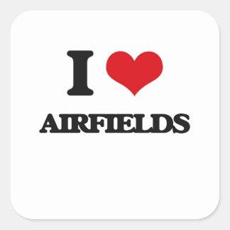 I Love Airfields Square Sticker