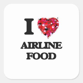 I love Airline Food Square Sticker