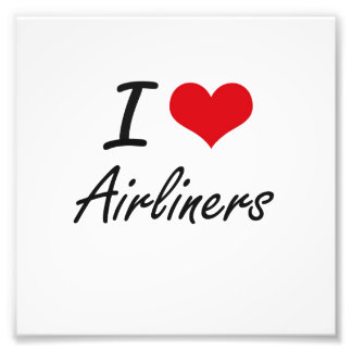 I Love Airliners Artistic Design Photo Print