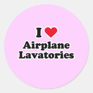 I love airplane lavatories round sticker