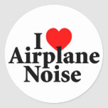 I Love Airplane Noise Classic Round Sticker