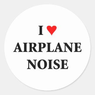 I love airplane noise classic round sticker