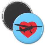I Love Airplanes 2 Inch Round Magnet
