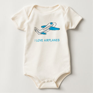 I Love airplanes Baby Bodysuit