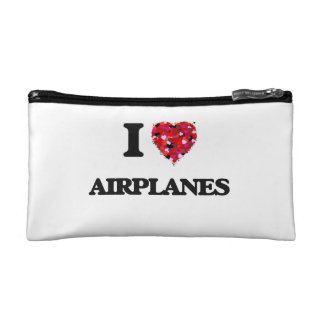 I Love Airplanes Makeup Bags