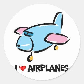I Love Airplanes Classic Round Sticker