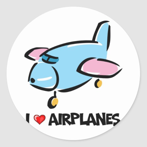 I Love Airplanes Classic Round Sticker