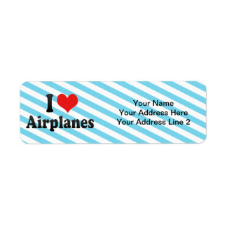 I Love Airplanes Label