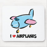 I Love Airplanes Mouse Pad