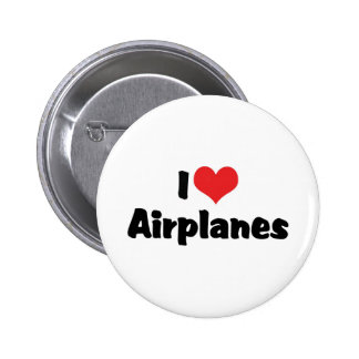 I Love Airplanes Pinback Button