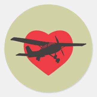 I Love Airplanes Round Stickers
