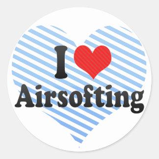 I Love Airsofting Round Stickers