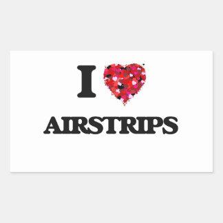 I Love Airstrips Rectangular Sticker